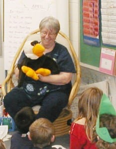 Terry Foxx storytelling with the help of Eli the eagle.